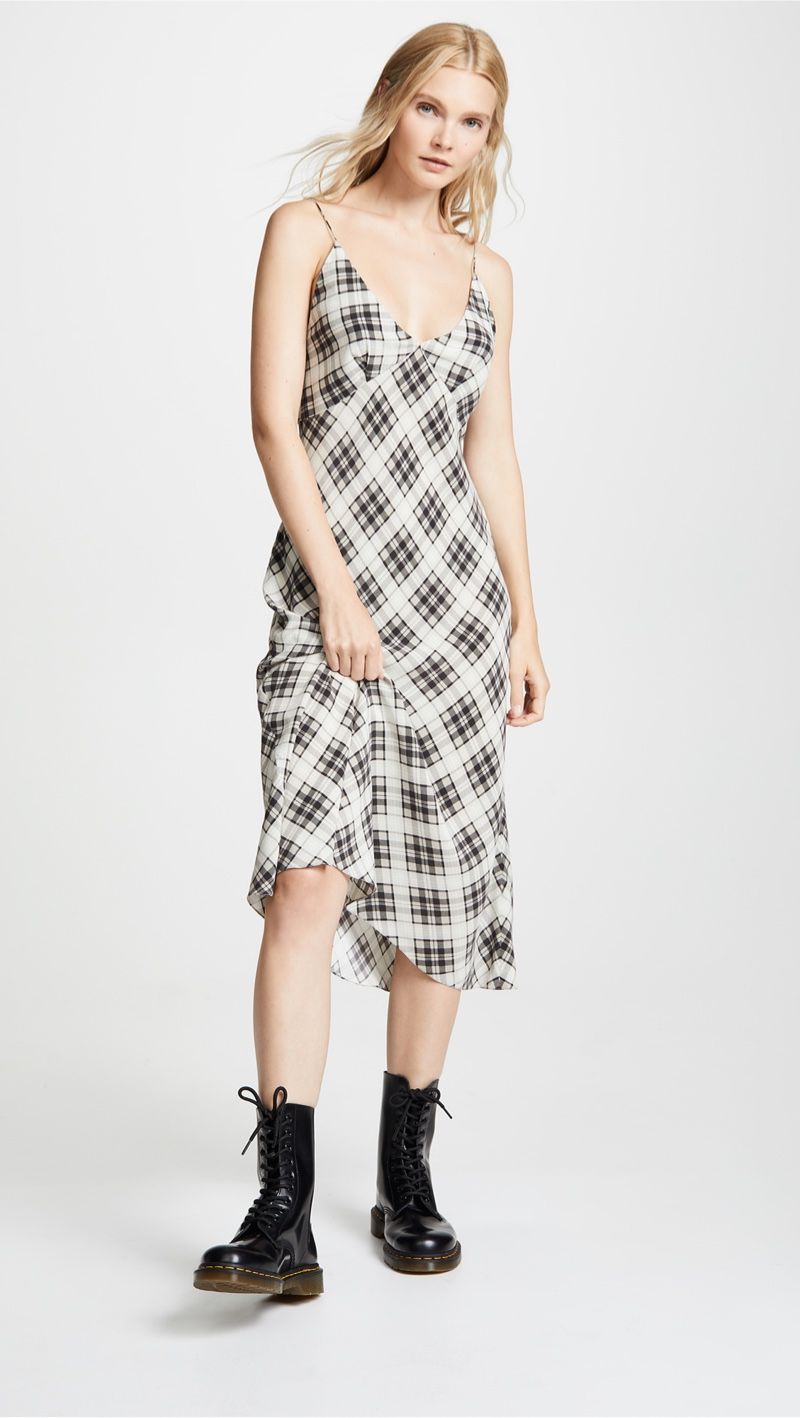 Marc Jacobs Redux Grunge Bias Plaid Knee Length Dress $495
