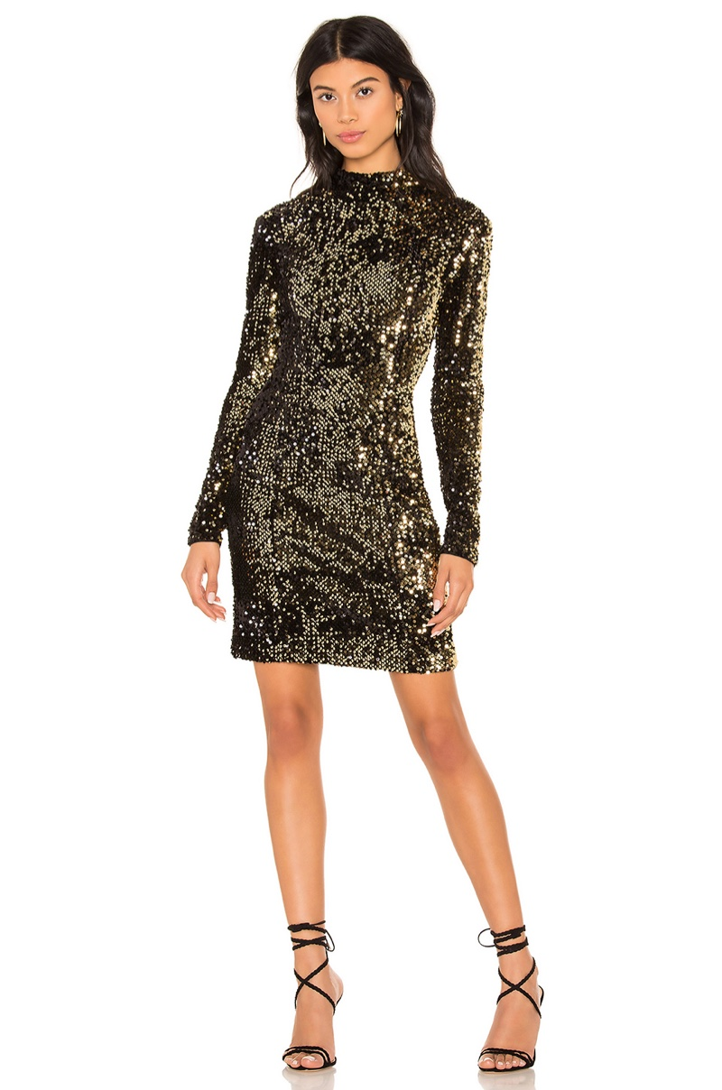 Milly Turtleneck Dress in Gold $395