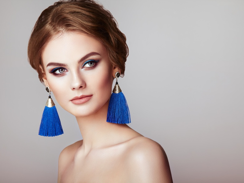 Model Blue Tassel Earrings