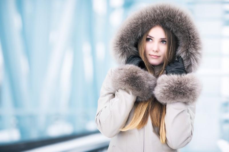 Model Winter Coat Fur Beautiful