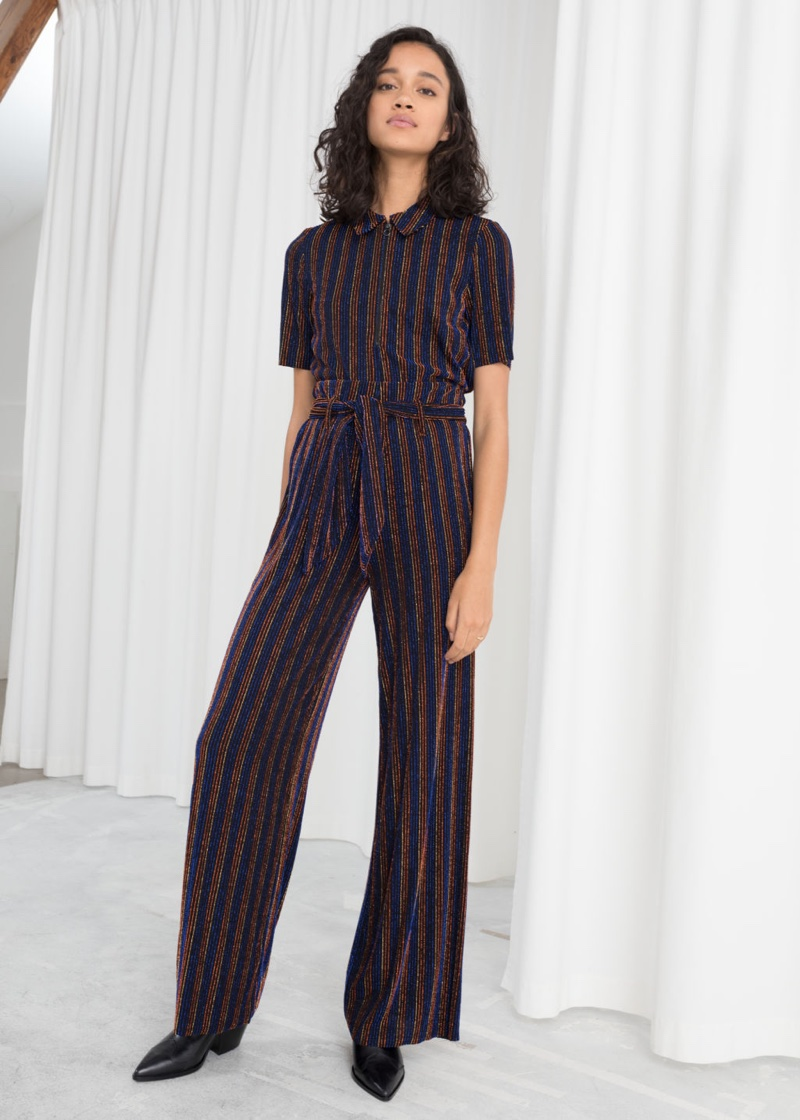 & Other Stories Glitter Stripe Polo Top $49 and Glitter Stripe Belted Pants $89