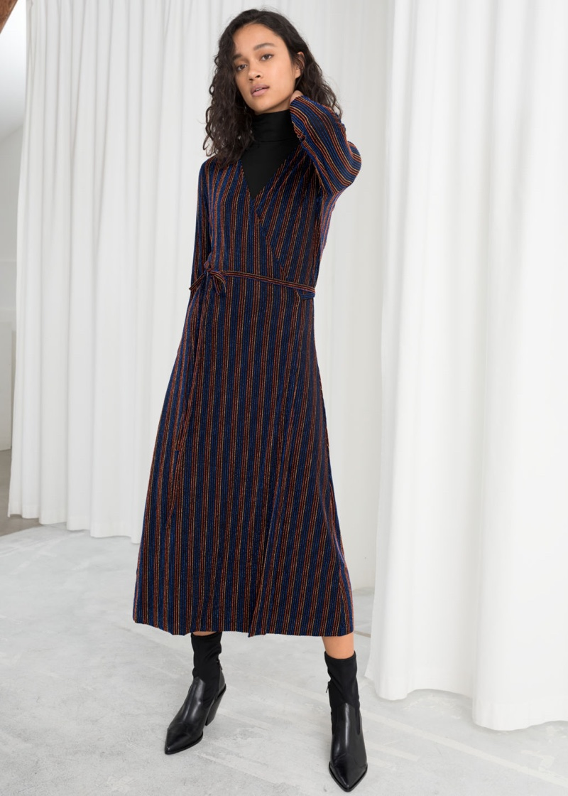 & Other Stories Glitter Stripe Wrap Midi Dress $99