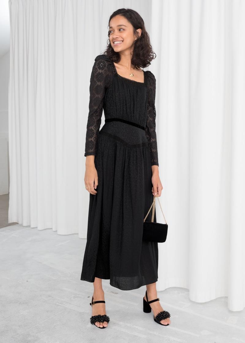 & Other Stories Lace Trim Midi Dress $219