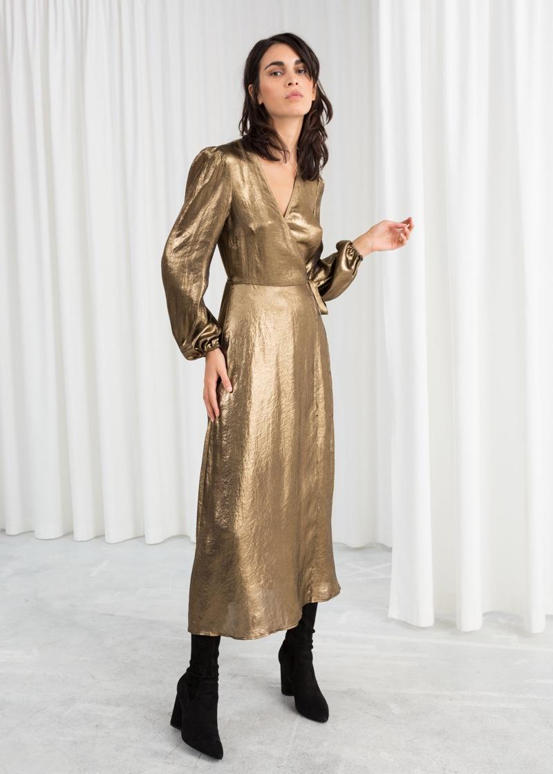 & Other Stories Metallic Satin Midi Dress $149