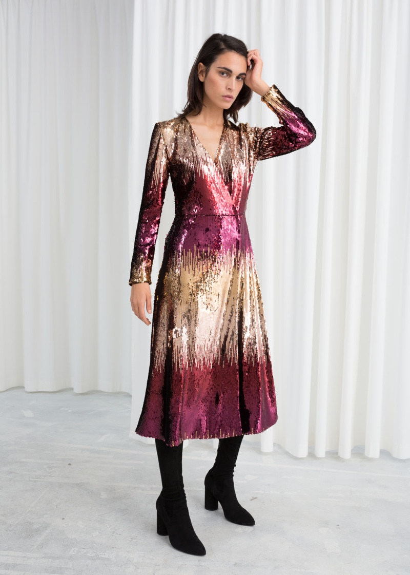 & Other Stories Ombre Sequin Midi Dress $149