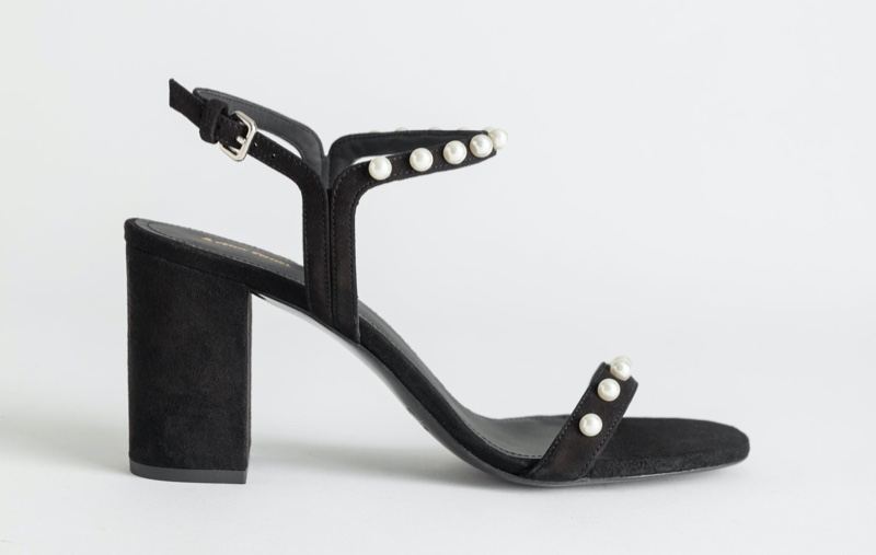 & Other Stories Pearl Studded Suede Heeled Sandals $89 (previously $129)