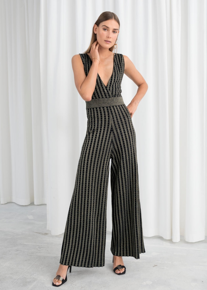 & Other Stories Plunging Glitter Stripe Jumpsuit $119