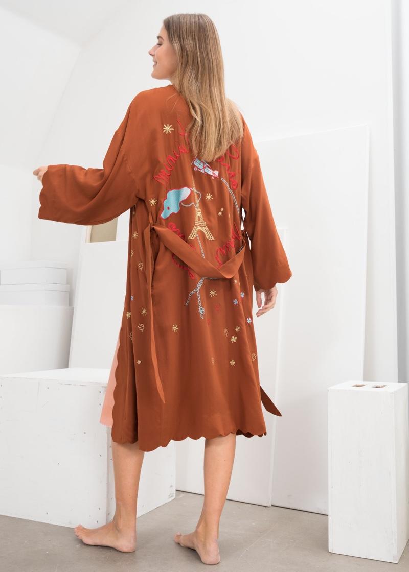 & Other Stories Scalloped Silk Kimono Robe $249