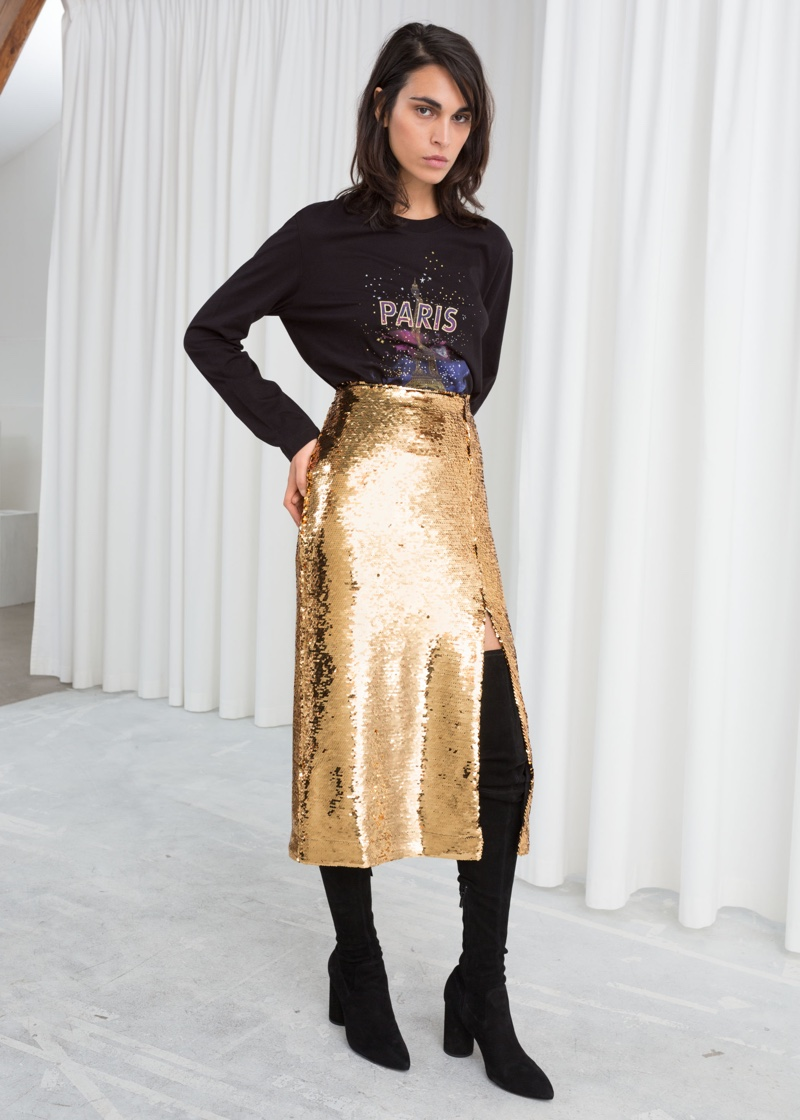& Other Stories Sequin Midi Pencil Skirt $89
