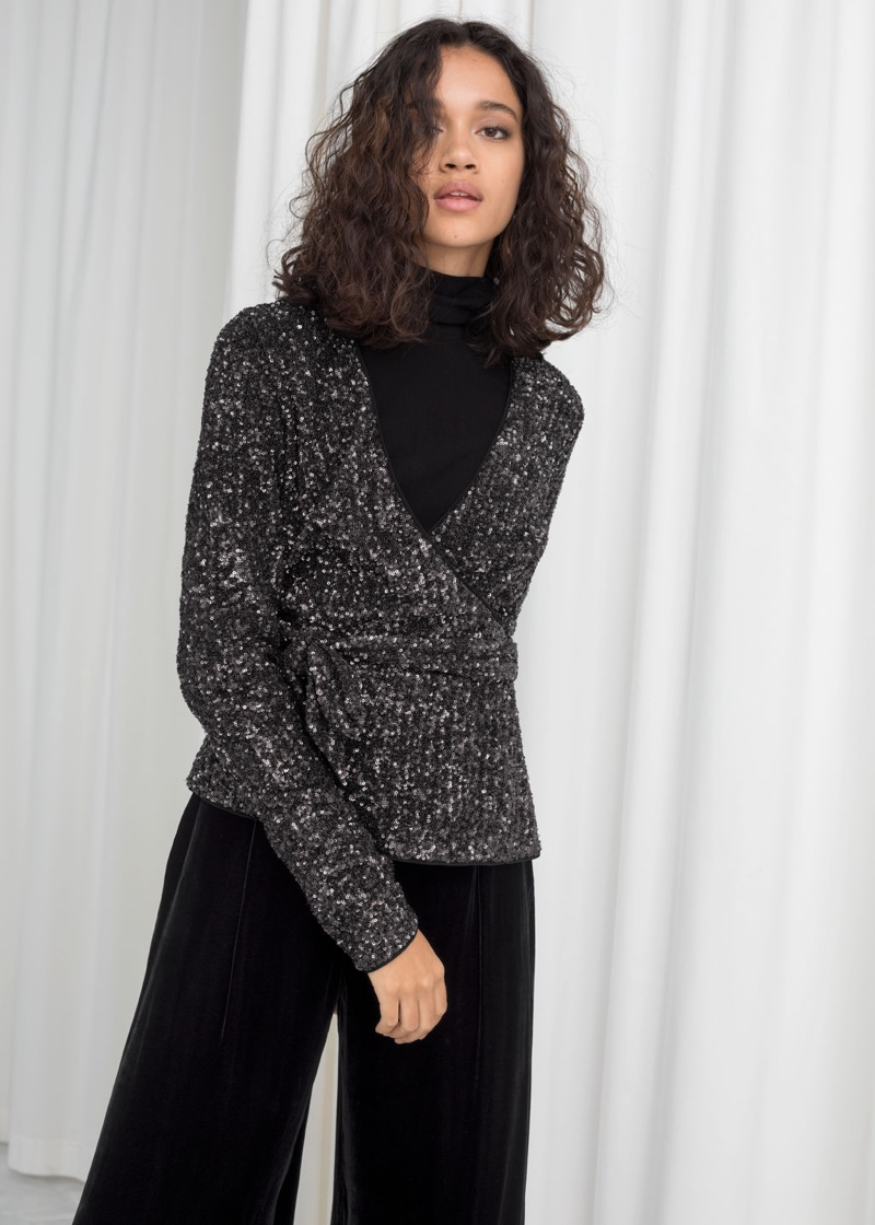 & Other Stories Sequin Wrap Top $119