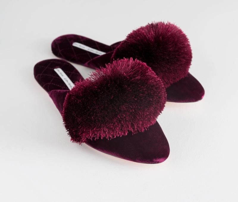 & Other Stories Velvet Pom Pom Indoor Slippers $79