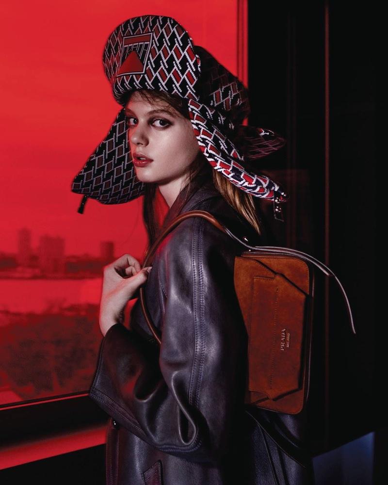 Ariel Nicholson appears in Prada Augmented Sunset resort 2019 campaign
