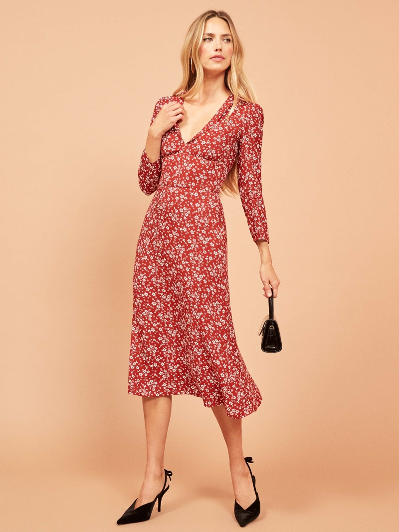 Reformation Mabel Dress in Rouge $153 (previously $218)