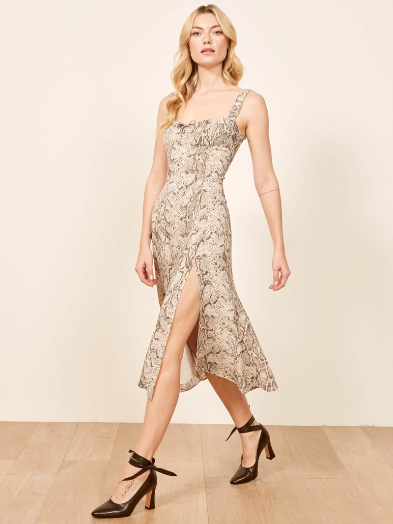 Reformation Peridot Dress in Python $218