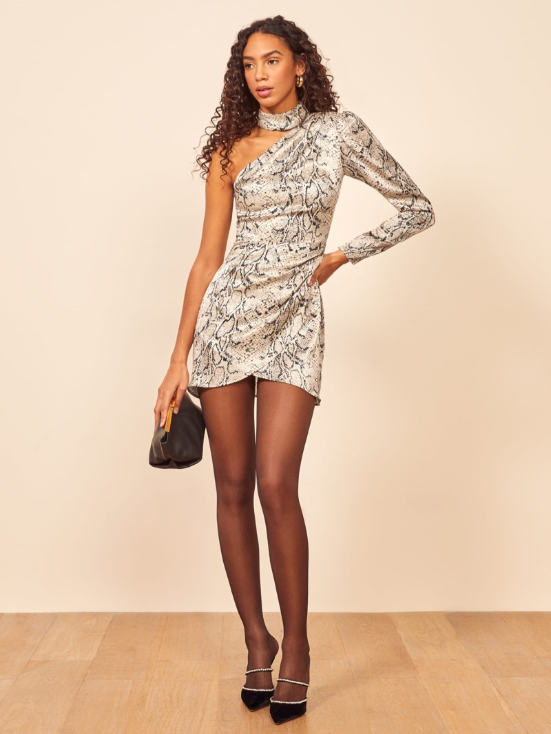 Reformation Tate Dress in Rattlesnack $278