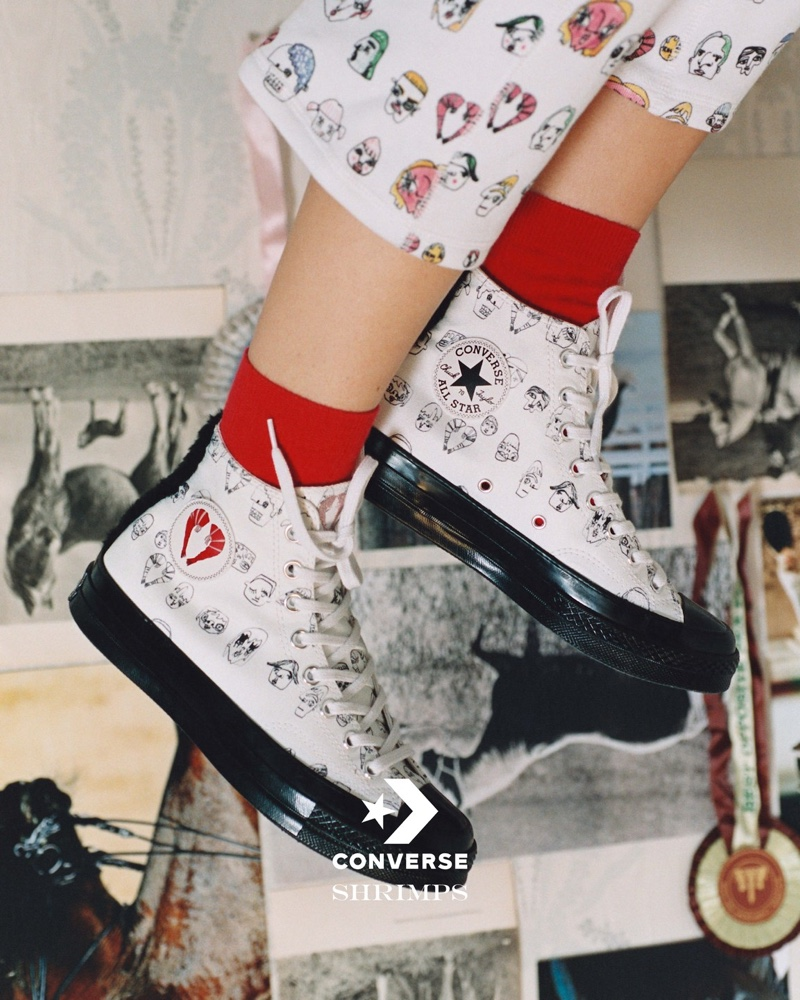 An image from the Shrimps x Converse campaign