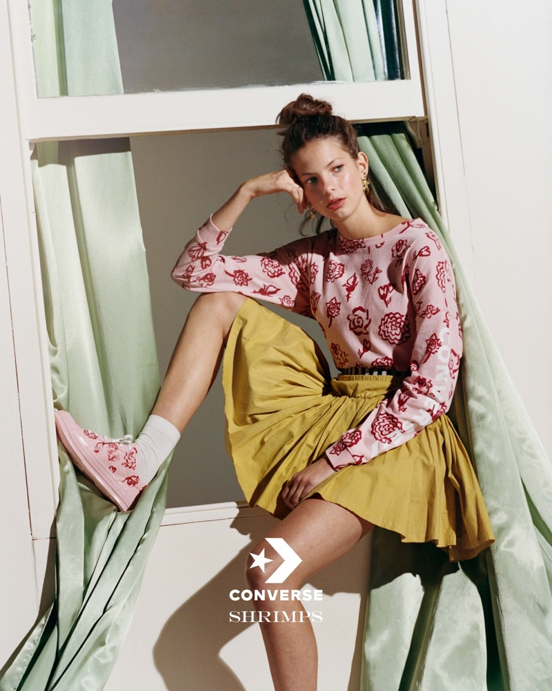 Model Margherita Boffetta fronts Shrimps x Converse campaign