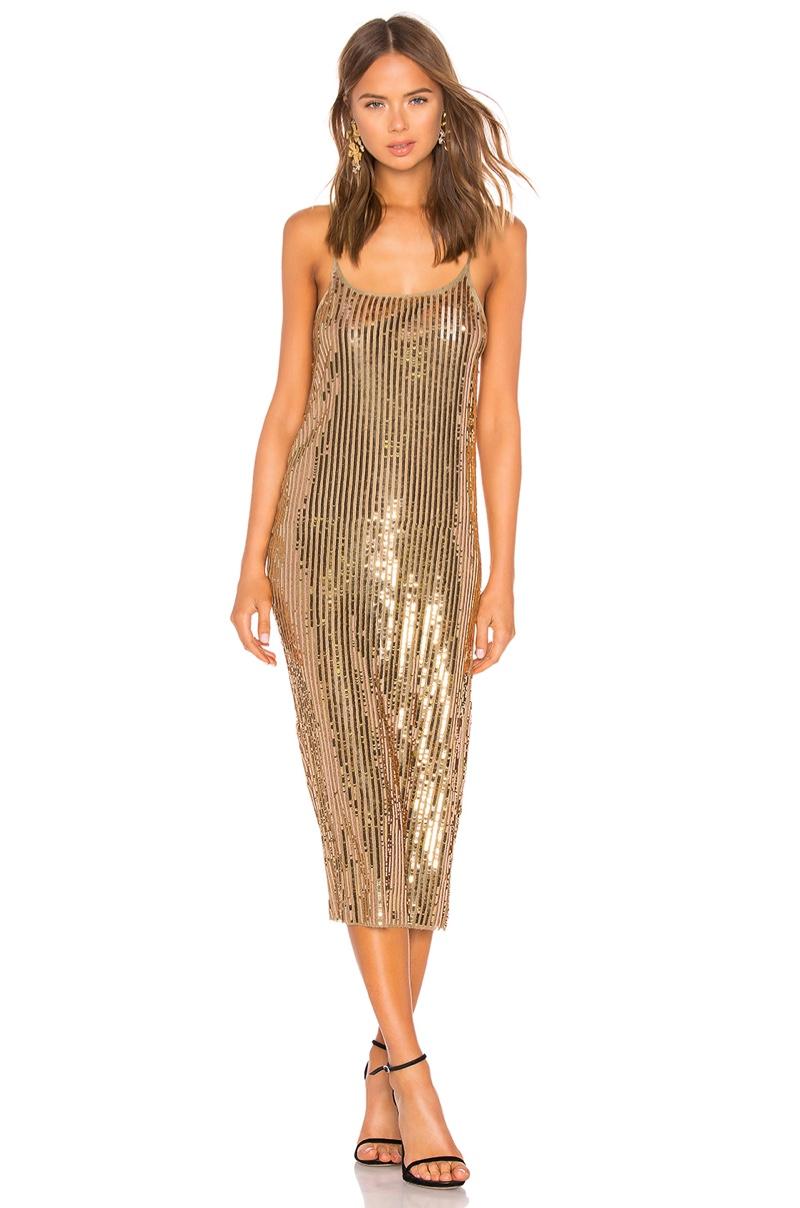 Tanya Taylor Venuss Dress in Gold $695