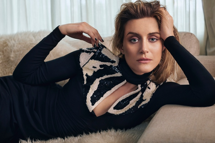 Photographed by Michael Schwartz, Taylor Schilling wears an Alexander McQueen gown