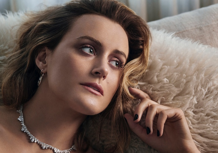Turning up the shine factor, Taylor Schilling wears Chopard necklace and earrings