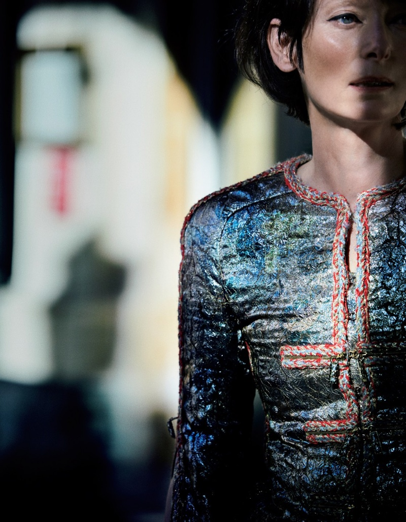 Ready for her closeup, Tilda Swinton wears an embellished Chanel jacket