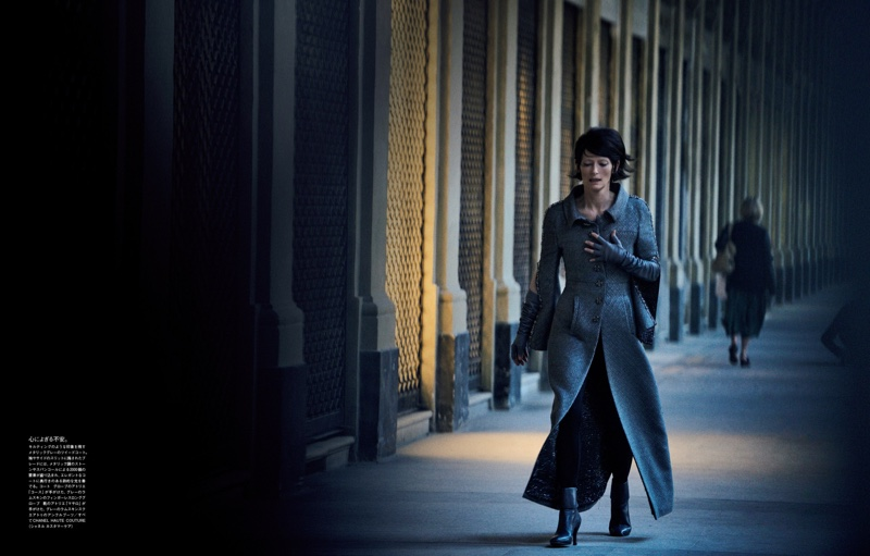 Tilda Swinton walks the halls in a Chanel tweed look