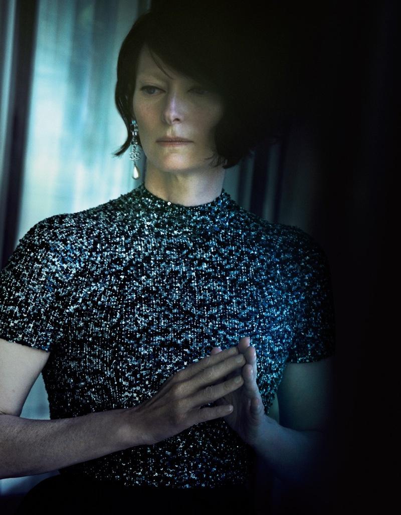 Tilda Swinton sparkles in a glittery top