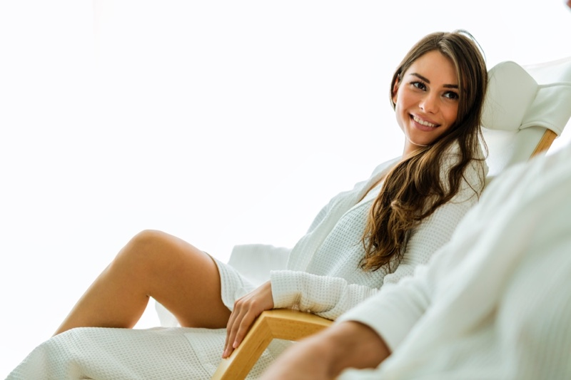 Women Smiling Robe Spa