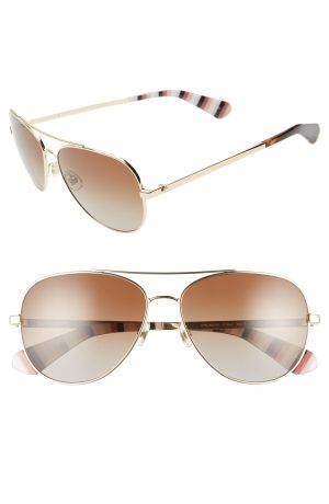 Women's Kate Spade New York Avaline 2 58Mm Polarized Aviator Sunglasses - Gold