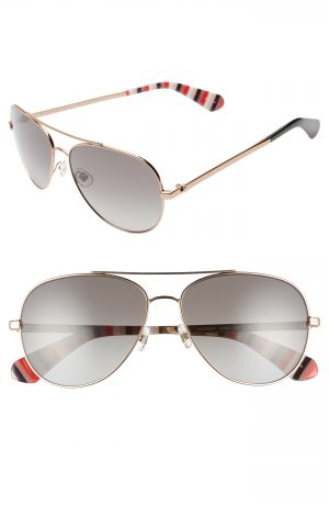 Women's Kate Spade New York Avaline 2 58Mm Polarized Aviator Sunglasses - Red/ Gold