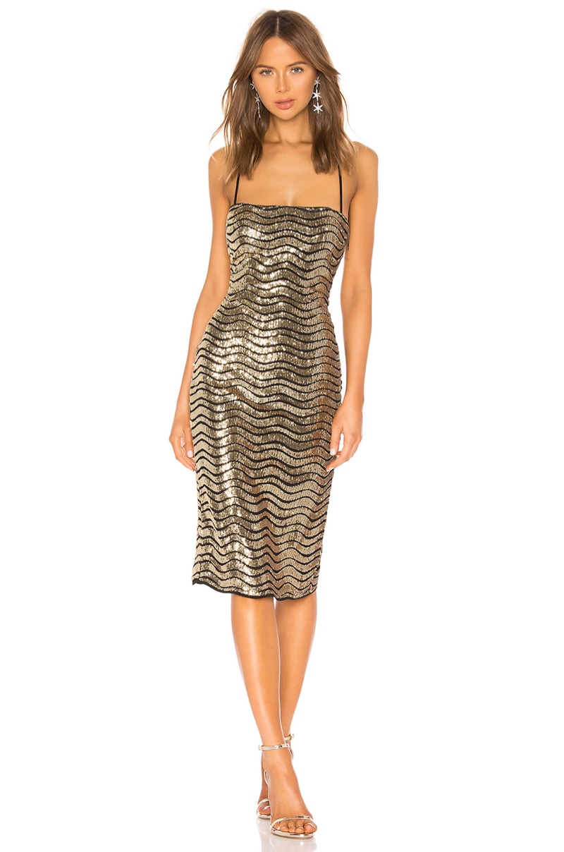 h:ours Lexie Midi Dress in Gold $258