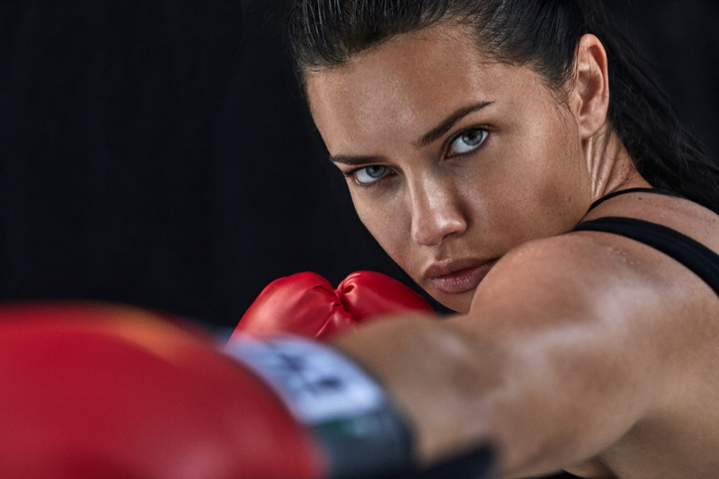 Supermodel Adriana Lima throws a punch in PUMA for Amazon campaign. Photo: Michael Schwartz