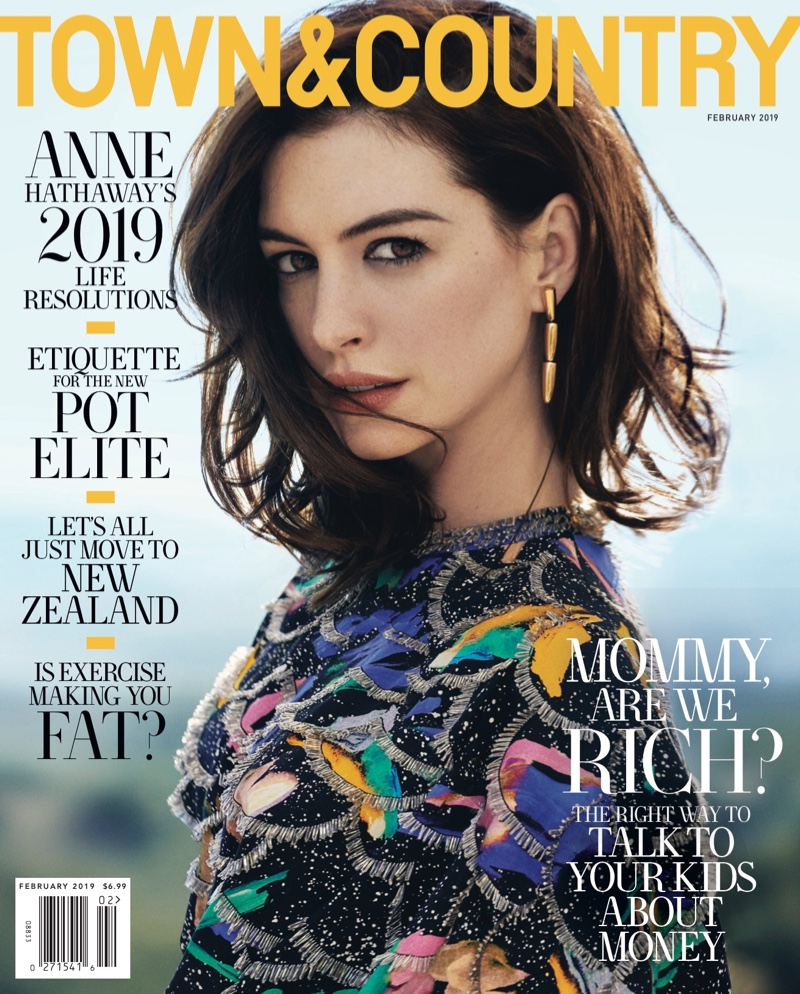 Anne Hathaway on Town & Country Magazine February 2019 Cover