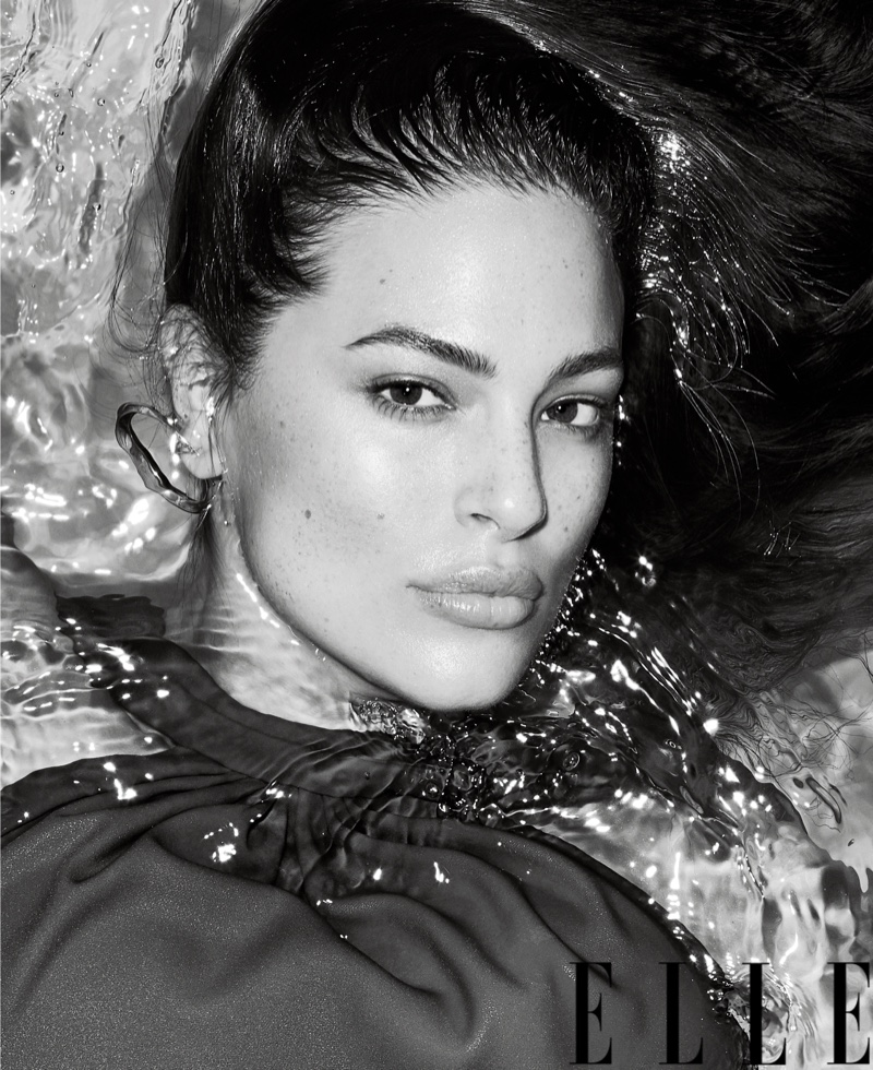 Ashley Graham Takes a Dip for ELLE Cover Story