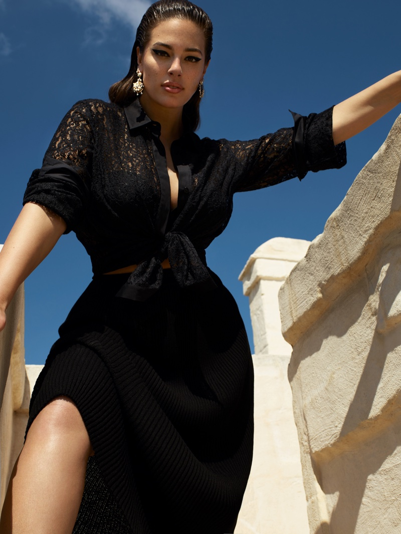 The plus size model flaunts her figure in Marina Rinaldi's spring-summer 2019 campaign
