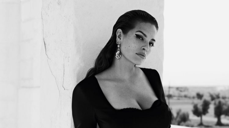 Wearing a little black dress, Ashley Graham fronts Marina Rinaldi spring-summer 2019 campaign