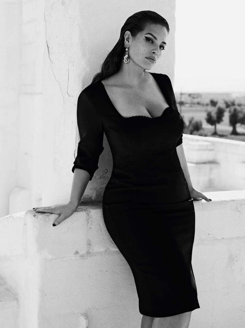 Wearing a little black dress, Ashley Graham fronts Marina Rinaldi spring-summer 2019 campaign