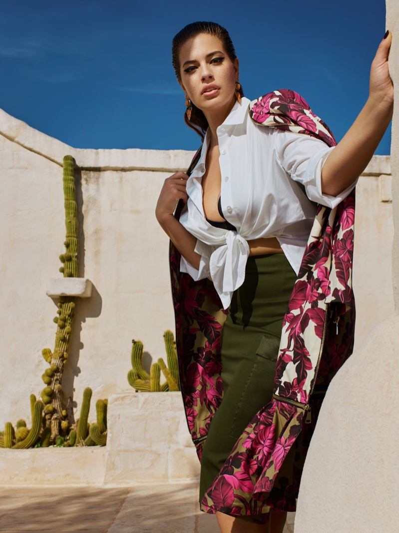 The curvy model shows off her shape in Marina Rinaldi's spring-summer 2019 campaign