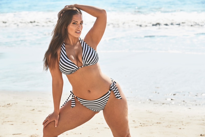 Ashley Graham models striped bikini in Swimsuits For All 2019 campaign