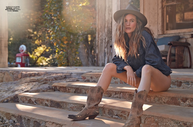 Behati Prinsloo Soaks Up the Sun in Denim for Marie Claire Italy