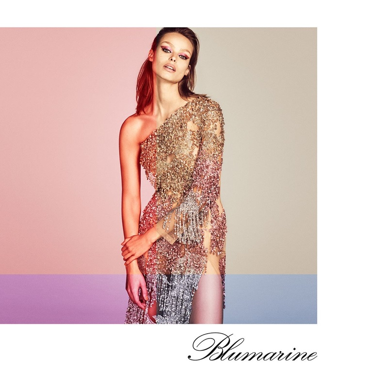 Model Birgit Koss wears crystal embellished dress for Blumarine spring-summer 2019 campaign