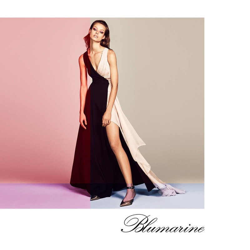 Wearing a gown, Birgit Kos appears in Blumarine spring-summer 2019 campaign
