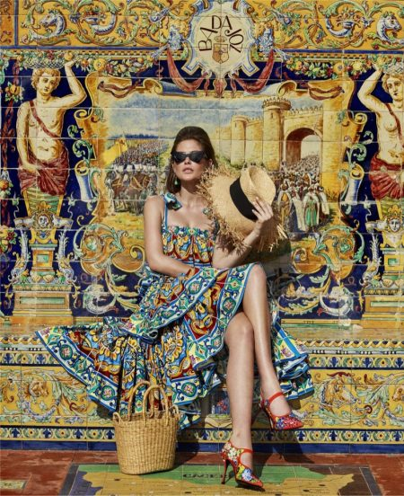 Catherine McNeil Poses in Colorful Prints for Harper's Bazaar