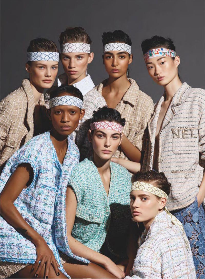 Adesuwa Aighewi, Hyun Ji Shin, Kris Grikaite, Nora Attal, Rebecca Leigh Longendyke, Sarah Dahl and Vittoria Ceretti front Chanel spring-summer 2019 campaign