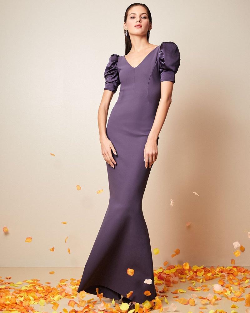 Chiara Boni La Petite Robe Maeve V-Neck Shirred Satin-Sleeve Mermaid Gown $1,090