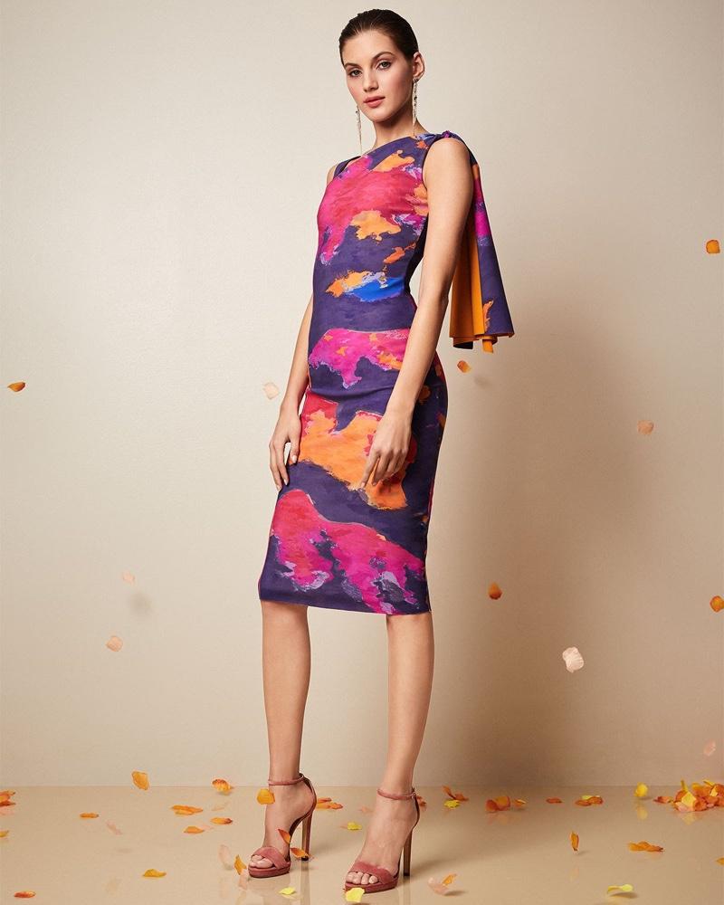 Chiara Boni La Petite Robe Fizzah Sleeveless Asymmetric Batik-Print Body-Con Dress $750