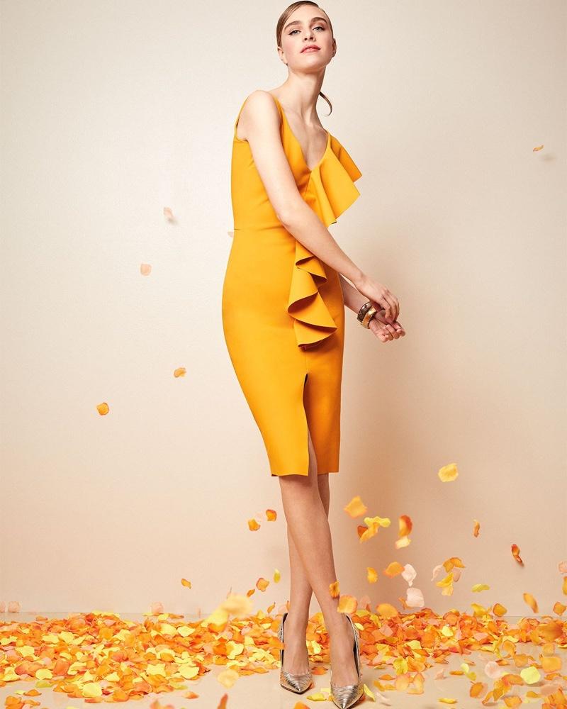 Chiara Boni La Petite Robe Boudicea V-Neck Sleeveless Dress with Asymmetric Ruffle $695