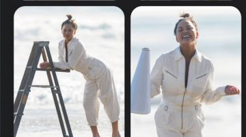 Chrissy Teigen Hits the Beach for ELLE UK