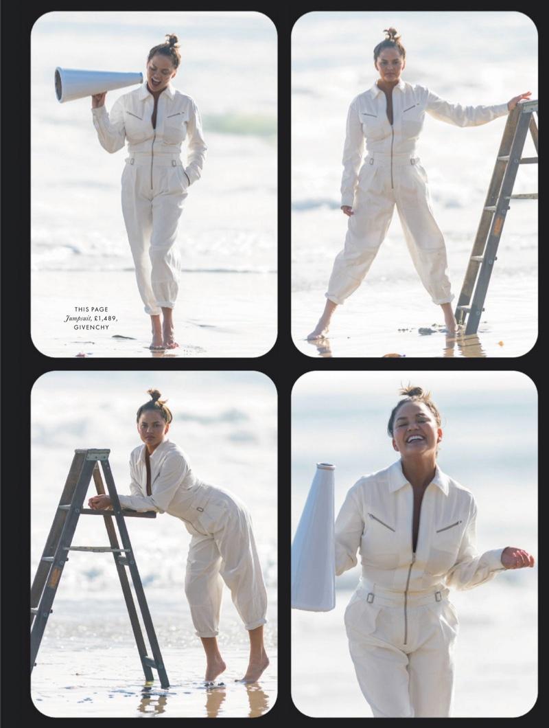 Chrissy Teigen Hits the Beach for ELLE UK