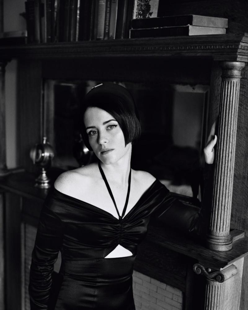 Claire Foy poses in Dolce & Gabbana dress with Prada headband